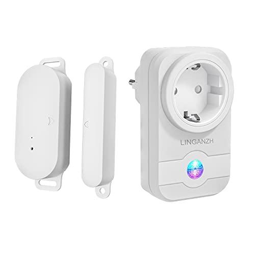LINGANZH Funk-Abluftsteuerung mit Fenster-Magnetkontakt und Funksteckdose für Dunstabzugshaube (Fenster-Magnetkontakt +Funksteckdose)