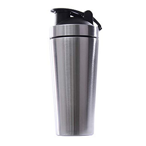 TOOGOO Botella Vibradora de ProteíNa de Acero Inoxidable Gimnasio Shaker Batido Deportivo Batidora Botella de Agua ProteíNa de Suero Fitness Sin BPA Plata