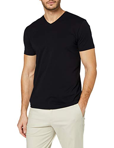 ESPRIT Herren V-Neck Basic T-Shirt, 001/BLACK, XXL