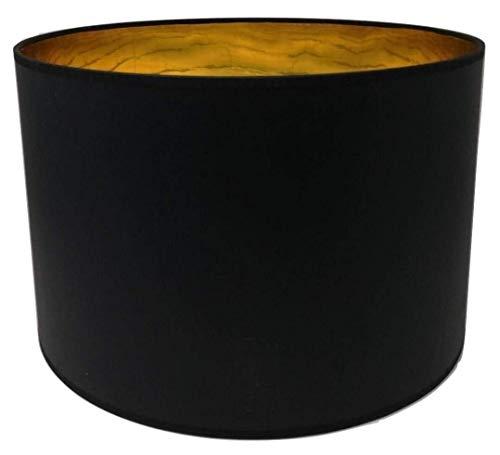 35 cm Lampenschirm Zylinderform schwarz Stoff Goldfutter Handarbeit Deckenanhänger - Tisch - Boden