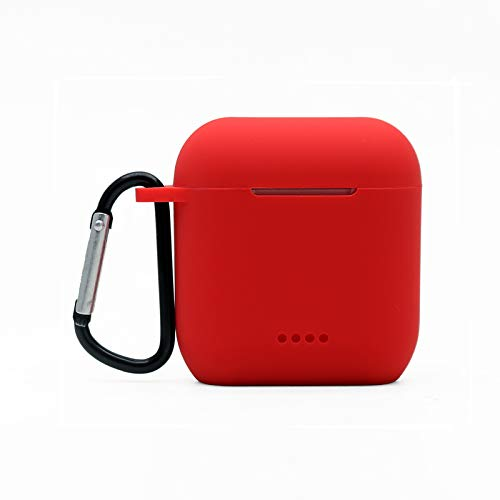 HYF Protective Silicone Case Compatible with Tozo t6, Front LED Visible, Premium Accessory Shockproof tozo t6 Case Cover with Keychain. (Red)
