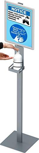 hjh OFFICE Desinfektionsständer CLEANUP I Stahl Halterung stehend für Hygienespender mit DIN A3 Hinweistafel, 830033