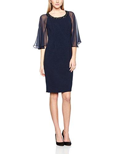 Jacques Vert Women's Chiffon Cape Detail Dress, Blue (Navy), 16