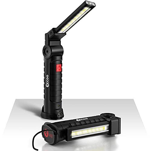 Lampada da Lavoro 800LM Ultra Luminoso, USB Ricaricabile COB Lampade di Ispezione, Lampada portatile con Base Magnetica e Gancio Appeso, Torcia 5 Modalità 6000k Lanterne per Riparazione Auto Emergenza