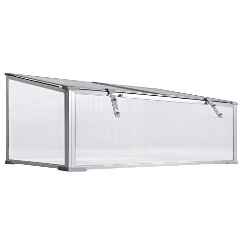 Outsunny Garden Polycarbonate Cold Frame Greenhouse Grow House Flower Vegetable Plants Bed Aluminum Frame 99L x 60W x 44H cm