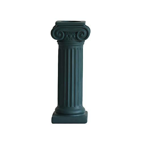 Congchuaty Chic antieke Romeinse kolom kandelaar Shabby bruiloft kaars houder tafel Stick Groen