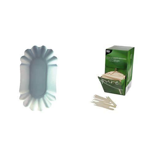 Papstar Pommesschale / Pappschale oval, weiß