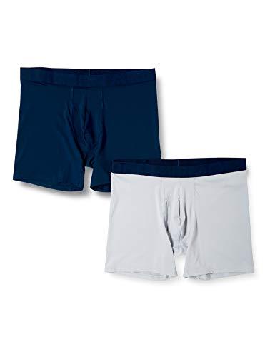 Under Armour Men's Tech Mesh 6In 2 Pack schnelltrocknende und hoch atmungsaktive Boxershorts, komfortable Unterwäsche für heiße Tage, Blue, 2XL