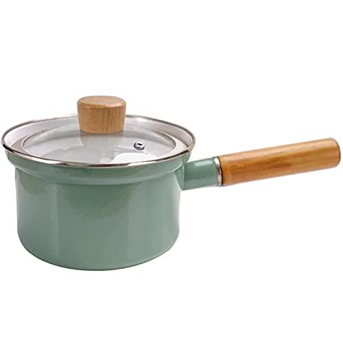 shandianniao Diametro 18 cm Smalto Zuppa di zuppa Pentola Antiaderente Pan con Coperchio Cucina Pentole da Cucina 1.5 l Fornello da Cucina per fornello a induzione, Stufa a Gas (Color : Green)