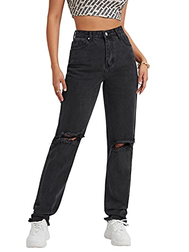 SheIn Women's Ripped Boyfriend Jeans Distressed High Waisted Denim Jeans Black Medium
