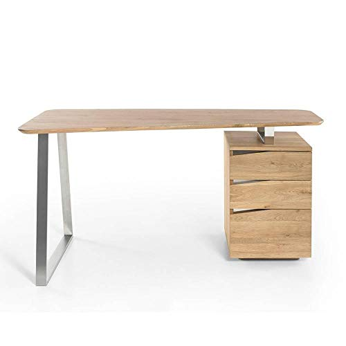 INSIDE Bureau Design Winter 3 tiroirs Plateau chêne noueux huilé Massif