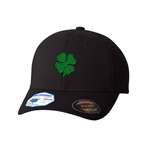 Four Leaf Shamrock Clover Irish Ireland St Patricks Patty Flexfit Adult Pro-Formance Branded Hat Black Large/X-Large