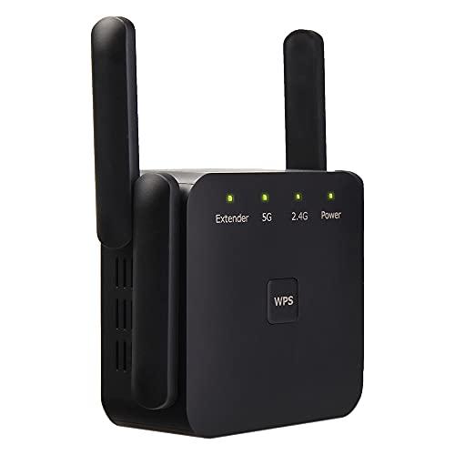 Repetidor WiFi AC 1200Mbps,5 GHz & 2.4 GHz Dual Band Amplificador Señal WiFi,Extensor de Red WiFi con 4 Antenas Externas,Modo Ap/Repetidor,Conecta y Reproduce