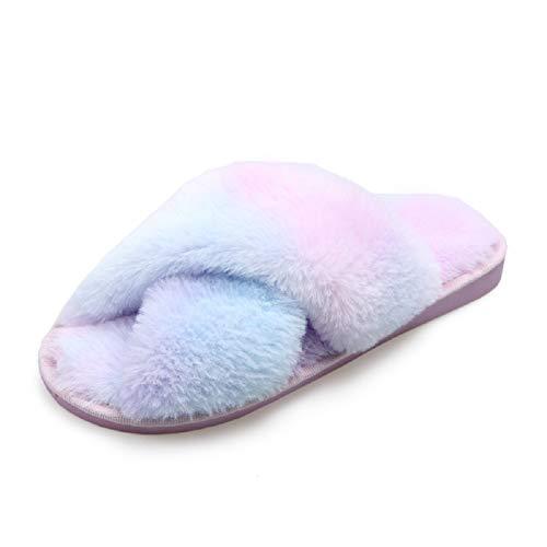 AONEGOLD Hausschuhe Damen Winter Warm Fluffy Plüsche Pantoffeln Indoor Home Leicht Slippers rutschfeste Bequem Flache Slippers