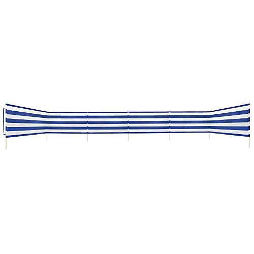 Idena Cortavientos Aprox. 800 x 80 cm, Color Azul y Blanco, con Correa de Transporte y Cintas de fijación, para Playa, Camping y jardín, Unisex Adulto