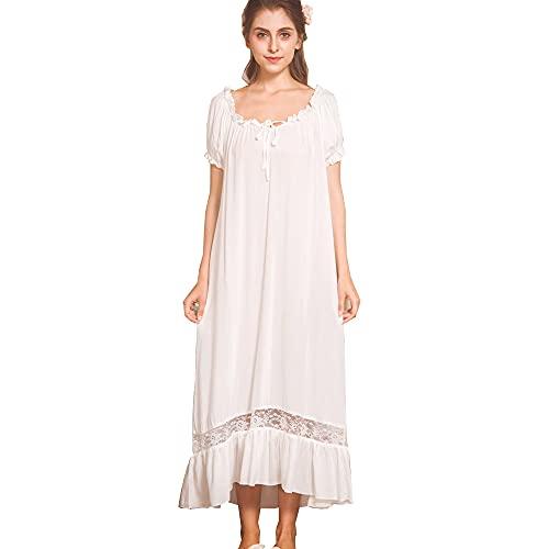 Damska długa wiktoriańska styl biała bawełna koszula nocna z krótkim rękawem / koszula nocna w dużych rozmiarach