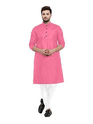 Enmozz® Gajari Pink Cotton Plain Men's Ethnic Simple Kurta Only