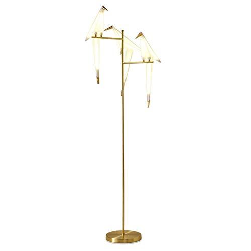 GLXLSBZ Lámpara de pie Moderna Creativa Decoración de mil grúas de Papel Tres Cabezas Pequeño pájaro Cuidado de los Ojos Lámpara de pie LED Latón Pulido 1.65M con Interruptor de pie f