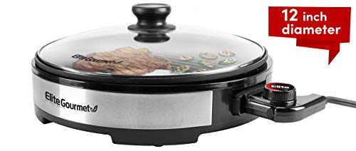 Elite Gourmet EMG6505G Large Indoor Electric Round Nonstick Grill Cool Touch Fast Heat Up Ideal...