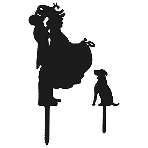 sourcingmap® Hochzeit Acryl DIY Braut Bräutigam und Hund Dekor Kuchen Topper Schwarz 2 in 1 DE de