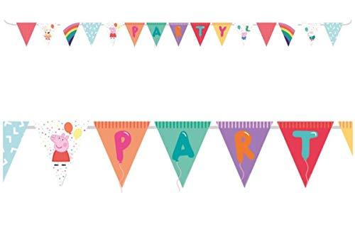 Lote de 2 Guirnaldas Decorativos Infantiles'Peppa Pig Party' 3,3 Metros Aproximadamente. Juguetes y Regalos Baratos para Fiestas de Cumpleaños, Bodas, Bautizos y Comuniones.