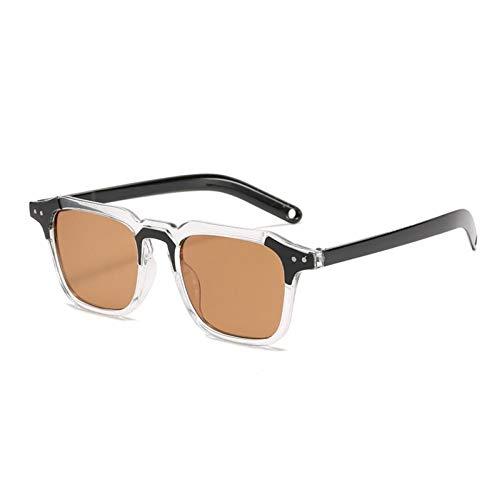 ZZOW Ins Popular Fashion Square Gafas De Sol Mujeres Vintage Remaches Decoración Clear Ocean Lens Gafas Hombres Gafas con Montura De Tonos
