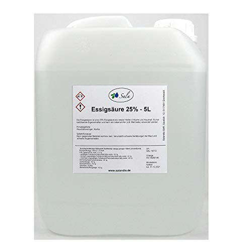 Sala Essigsäure Essigessenz 25% E260 Lebensmittelqualität 5 L