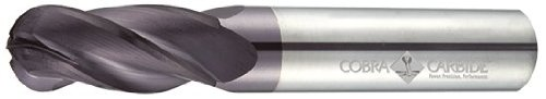 Cobra Carbide 23450 Micro Grain Solid Carbide Regular Length General End Mill, Uncoated (Bright) Finish, 4 Flute, 30 Degrees Helix, Ball Nose End, 13/16