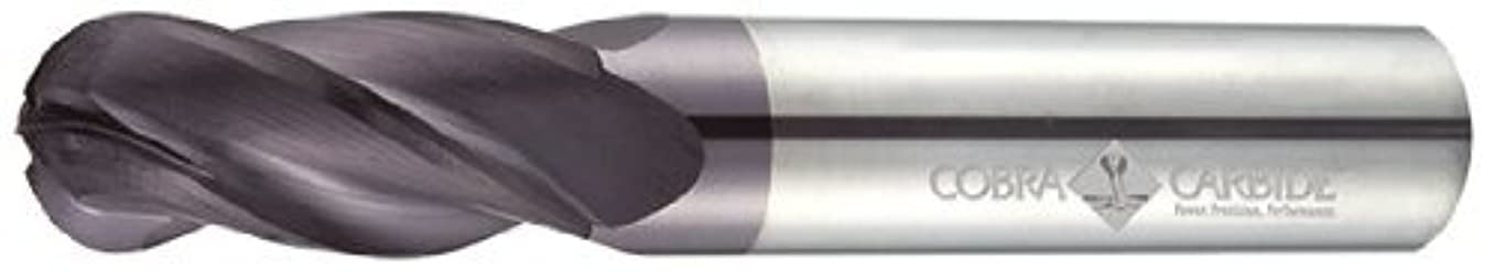 Cobra Carbide 23282 Micro Grain Solid Carbide Regular Length General End Mill, Uncoated (Bright) Finish, 4 Flute, 30 Degrees Helix, Ball Nose End, 5/8