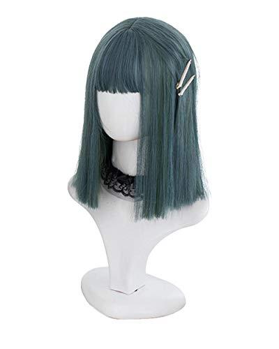 Cosplay perruque chaude teinte perruque haute température soie perruque cheveux longs perruque anime perruque fashion lady , bleu vert 35 CM perruque_16 zoll