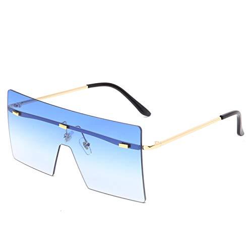 Gafas de Sol Sunglasses Gafas De Sol Cuadradas De Gran Tamaño con Lentes Transparentes Mujeres Hombres Moda De Lujo Gafas Sin Montura con Parte Superior Plana Uv400 Tonos