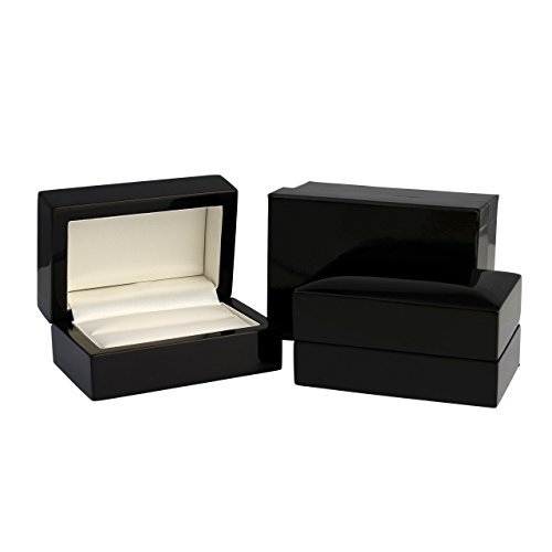 Luxury Solid Wooden Double Ring Boxes For 2 Rings High Polished Black Maple or Mahogany Wood Ring Boxes (Black Wood) by ELMA