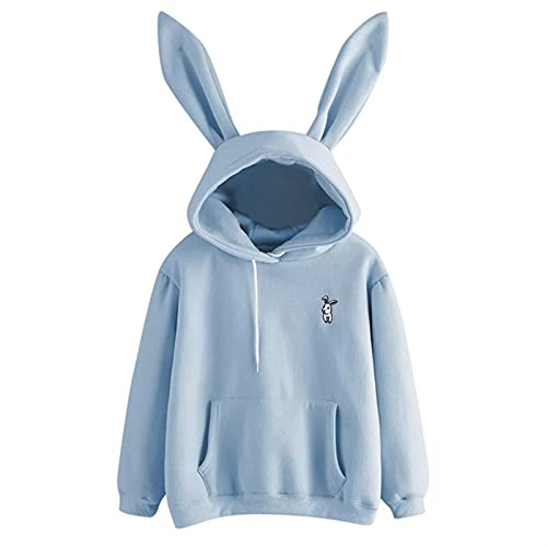 Mujer Impresa Niña con Capucha Casual Manga Larga Sudadera Jersey Orejas Plus Size Top Sweatershirt (Color : Sky Blue, Size : S.)