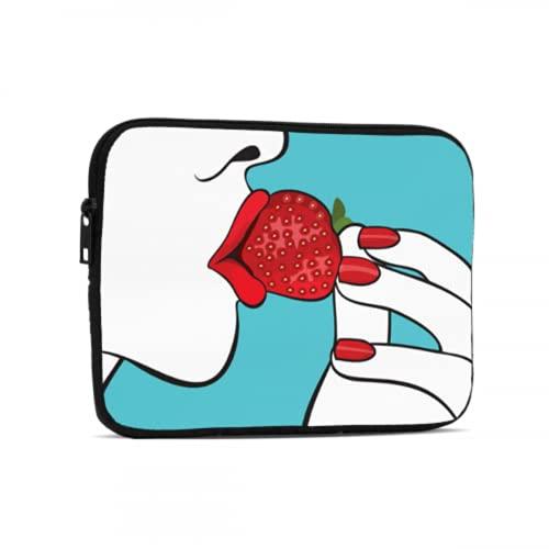 Bolsa impermeable hermosa mujer labios rojos comer fresa portátil Bolsas compatibles con iPad 7.9/9.7 pulgadas a prueba de golpes neopreno cremallera Tablets bolsa protectora con correa de asa