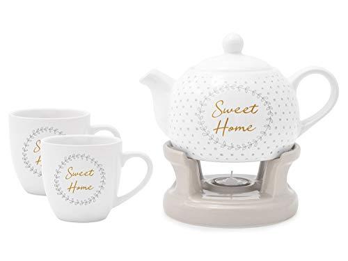 Wamat Teekanne Stövchen Set + Teetassen außergewöhnlich schlicht modern Design Neu (Modell: 2)