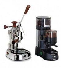 La Pavoni Chrome Combo set: Handhebel Espressomaschine La Pavoni Professional PL, La Pavoni Kaffemühle JDL und La Pavoni Grundplatte