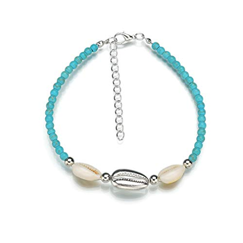 YAZILIND Summer Beach Foot Bracelet Anklet Hemp Rope Woven Wooden Beads Shell anklets Women feet Jewelry(Silver)