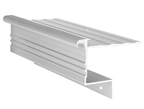 RenoProfil 80 cm Treppenprofil STABIL 8,5 für Laminat und Vinyl - Treppenkantenprofil für Treppenverkleidung und Treppenrenovierung - Farbe: Silber-Natur