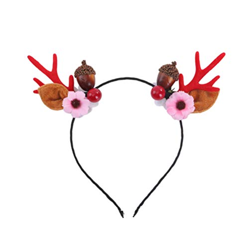 Toyvian Rentier Geweih Haarreifen Hirschgeweih Haarband mit Blumen Eichel Hirsch Feen Weihnachtskostüm Stirnbänder Weihnachtsgeweih Haarschmuck Party Cosplay Kopfbedeckung