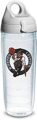 Tervis 1066755 'NBA Boston Celtics' Water Bottle with Grey Lid, 24 oz, Clear