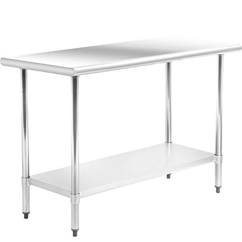 Kitchen Work Table Stainless Steel Metal Commercial NSF Scratch Resistent and Antirust Work Table with Adjustable Table Toot (24W×48L)