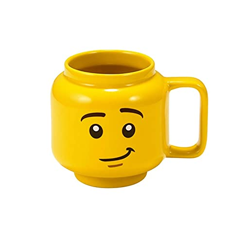 XUNYUAN Lego Mok-Cups Creatieve Geel Glimlach Gezicht Cartoon Cup Melk Koffie Keramische Drinkwater Houder Fashion Gift…