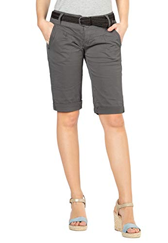 Fresh Made Damen Bermuda-Shorts im Chino Style mit Gürtel Middle-Grey L