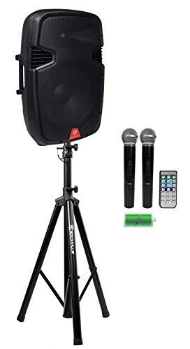 "Rockville RAM15BT 15""Rechargeable Powered 800W PA Speaker+2 Mics+Bluetooth+Stand"