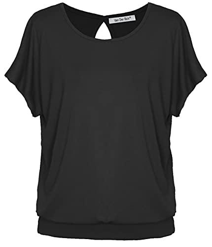 Van Der Rich ® - T-Shirt mit offenem Rücken (Made in Italy) - Damen (Schwarz, L)