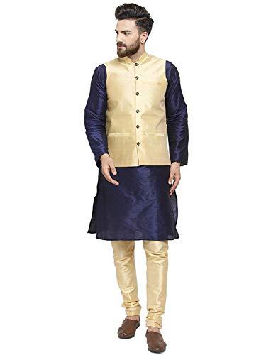 Royal Kurta Kurta Herren Pyjama und Nehru Jacke Set aus Seide Gr. 46, Marineblau-Gold1