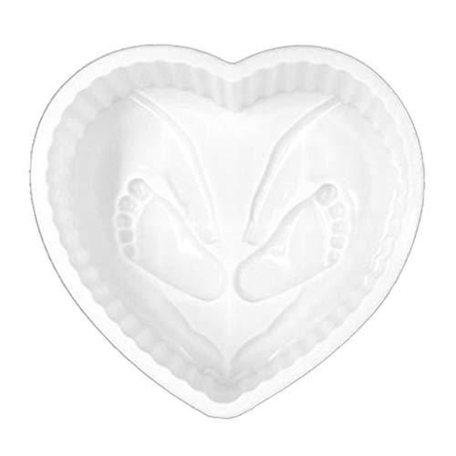 MIAOJI Molde para Hornear Pasteles, Molde para el día de San Valentín, Molde de Silicona con Huella de corazón 3D, Molde de Mousse para Pastel, Suministros para Fiestas de Bienvenida al bebé