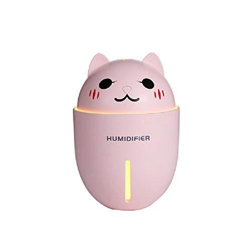 TaoRan Humidificador Mudo Mini Rosa Linda Mascota Linda luz Nocturna humidificador USB pequeño Ventilador humidificador casero Tres en uno-Rosa