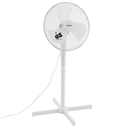 Arebos Ventilador de pie   45 vatios   80° de oscilación   3 niveles de velocidad   ajustable en altura hasta 122 cm   inclinable hasta 30°   silencioso   blanco