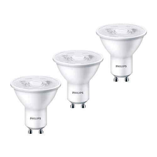 Philips - Lote de 3 focos LED (GU10, 4,7 W = 50 W, luz blanca cálida, 2700 K, 345 L)